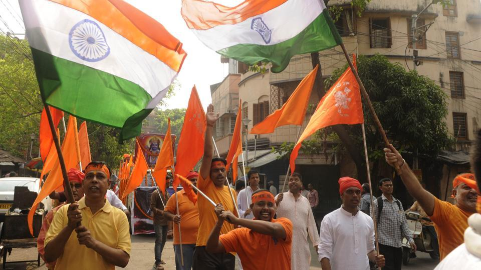 VHP supporters during a religious procession to celebrate Ram Navami at Bhowanipore area in Kolkata, on March 25, 2018.