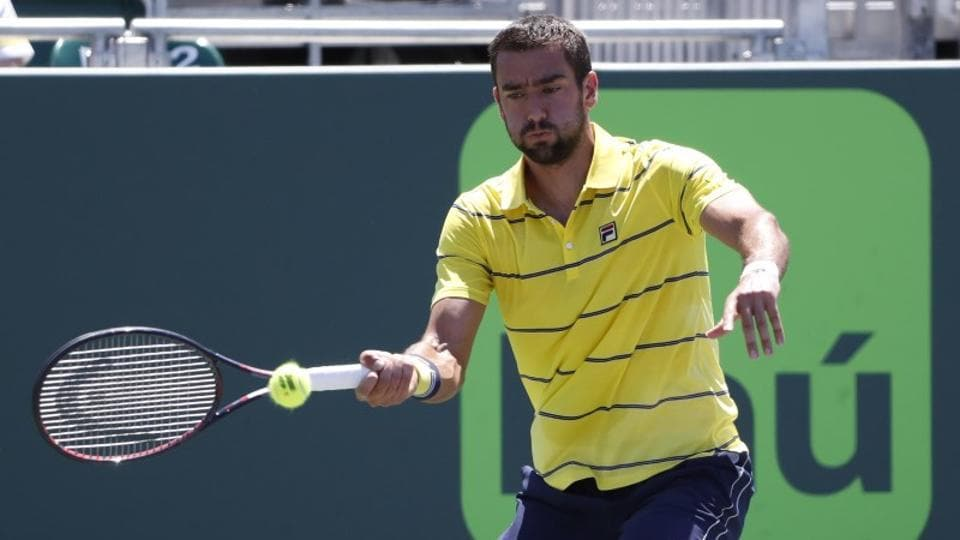 Marin Cilic of Croatia hits a forehand against Vasek Pospisil of Canada (not pictured) on Day 6 of the Miami Open at Tennis Center at Crandon Park.