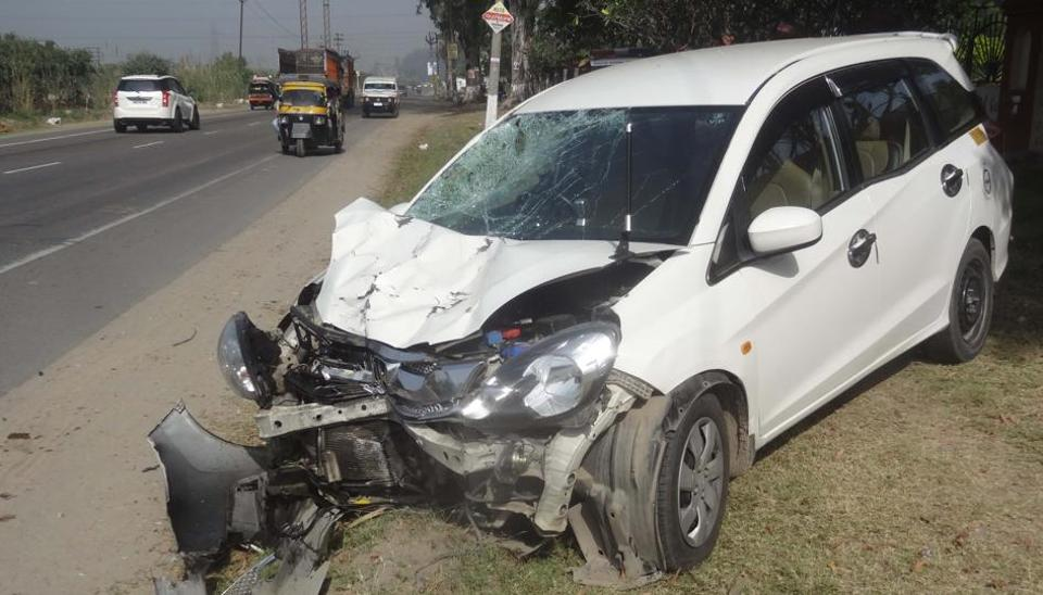 A car going to New Delhi from Hoshiarpur rammed into the motorcycle coming from the opposite direction on the Rupnagar-Nawanshahr road near Rayat-Bahra campus.