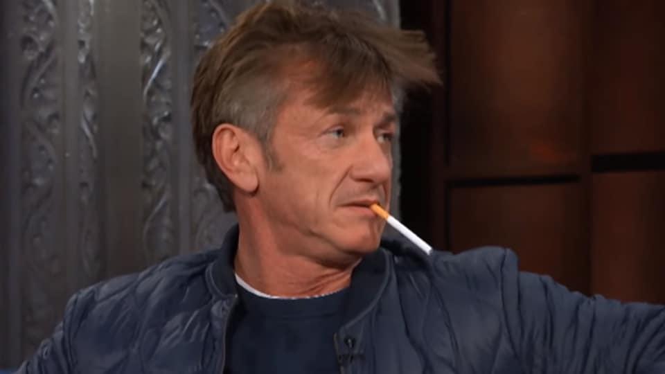 Sean Penn,Sean Penn Smoking,Sean Penn Colbert