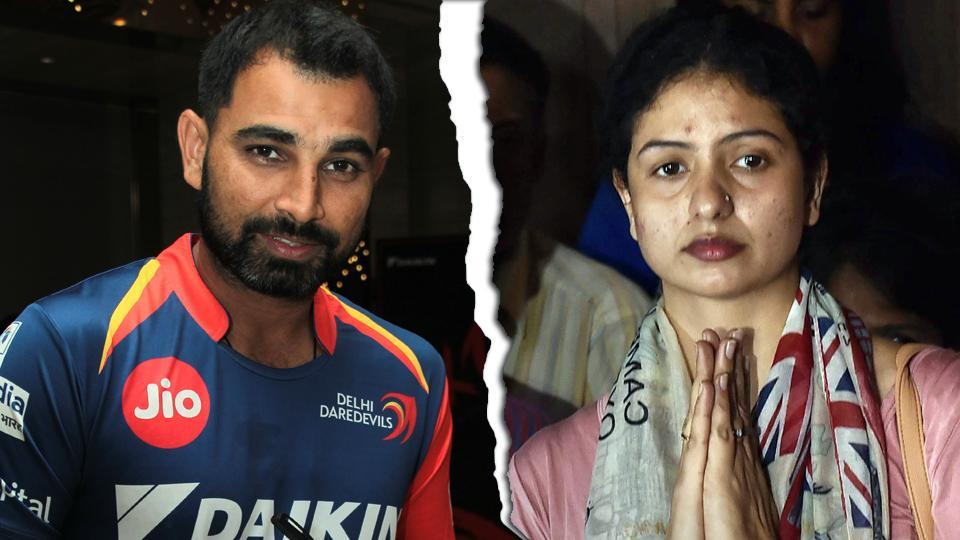 Indian cricketer Mohammed Shami (R) with his estranged wife Hasin Jahan and daughter Aaira Shami last year.