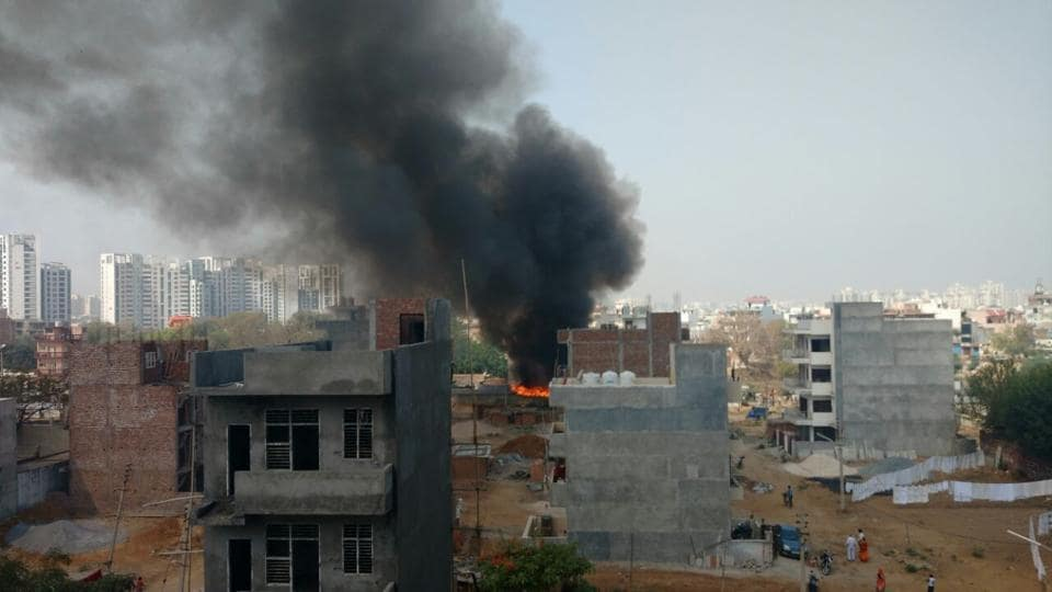 Fire broke out in a slum near Tigra village in Gurgaon on Monday.