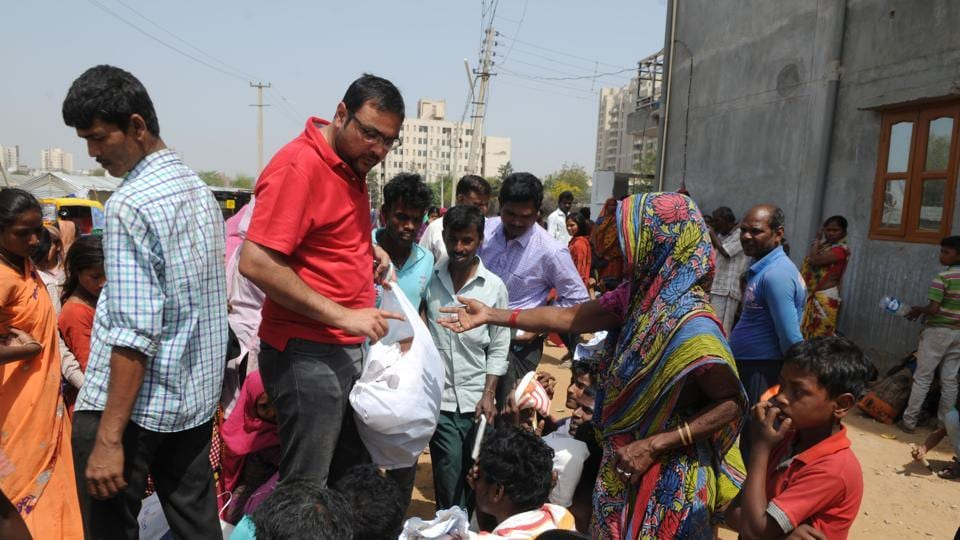 Food was distributed to those who lost their shanties in the fire.