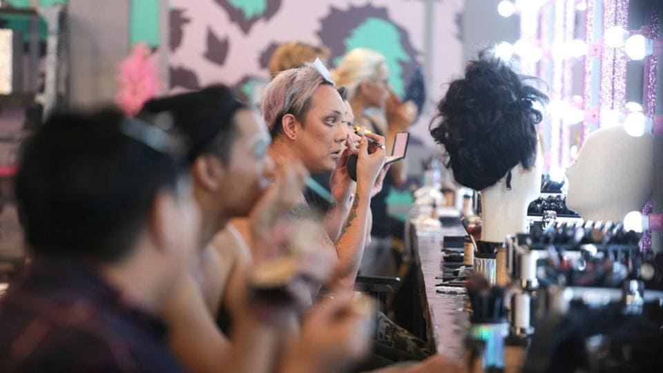 "Contestants seen backstage at the ""Drag Race Thailand"" set. The show has contestants aged 18 to 37 competing for a 500,000 baht ($16,000) cash prize and made its debut last month. Pan Pan credits the show with helping Thailand's drag scene blossom. (Athit Perawongmetha / REUTERS)"