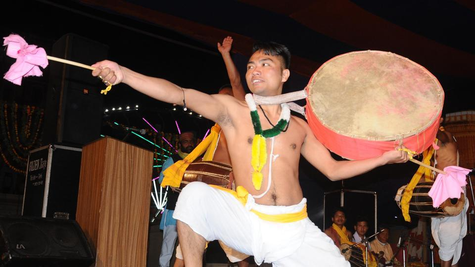 Manipur artists performing folk dance at a festival in Patiala, March 04, 2018