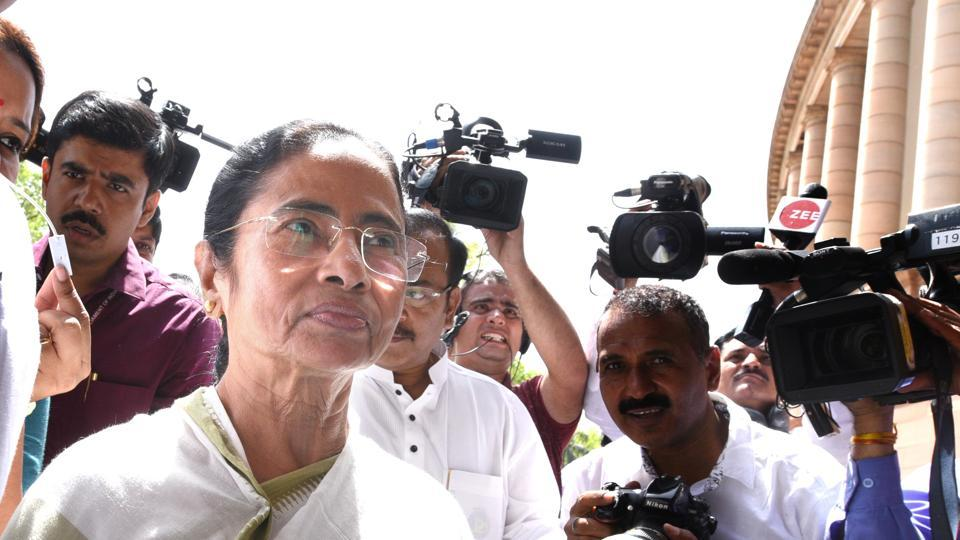 West Bengal chief minister Mamata Banerjee arrived in New Delhi today for the Parliament session and met Shiv Sena MP Sanjay Raut and Nationalist Congress Party chief Sharad Pawar as part of a four-day visit to the city. Banerjee, seen as a key player in a possible grouping of non-BJP parties ahead of the next Lok Sabha elections, is also expected to meet UPA Chairperson Sonia Gandhi and Delhi chief minister Arvind Kejriwal. (Arvind Yadav / HT Photo)