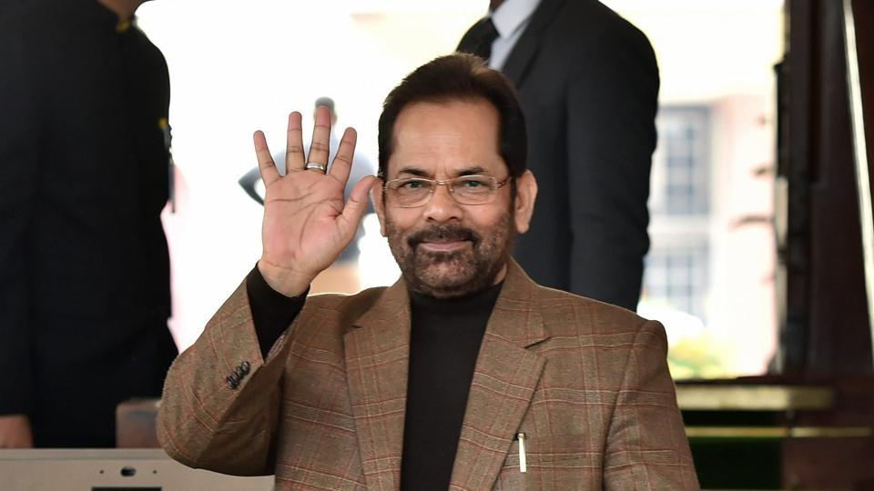 Union minister Mukhtar Abbas Naqvi met Election Commission officials on Tuesday.