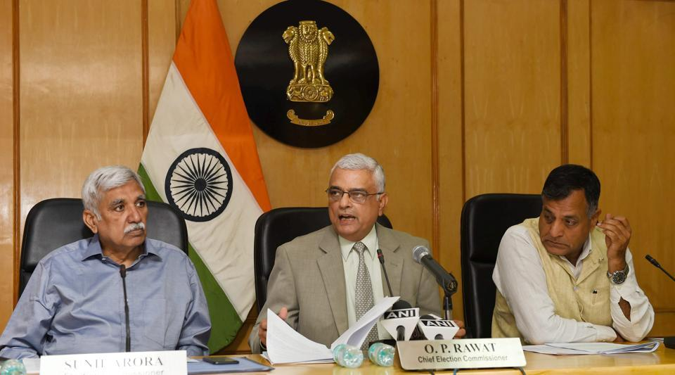 Chief Election Commissioner O P Rawat with Election Commissioners Ashok Lavasa and Sunil Arora announced the schedule for Karnataka elections at a press conference in New Delhi on Tuesday. Voting for the Assembly elections in Karnataka will be held on May 12 with the results being declared on the May 15. (Subhav Shukla / PTI)
