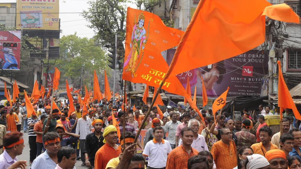 VHP supporters take out a religious procession to celebrate Ram Navami  in, Jadavpur area in Kolkata, on  March 25, 2018.