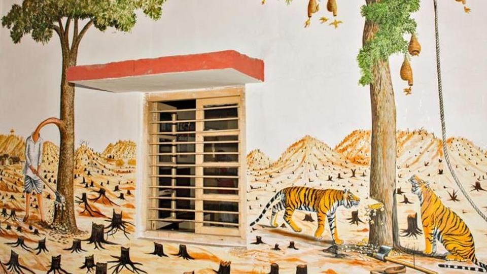 Wildlife art paintings at the Sawai Madhopur railway station in Rajasthan.
