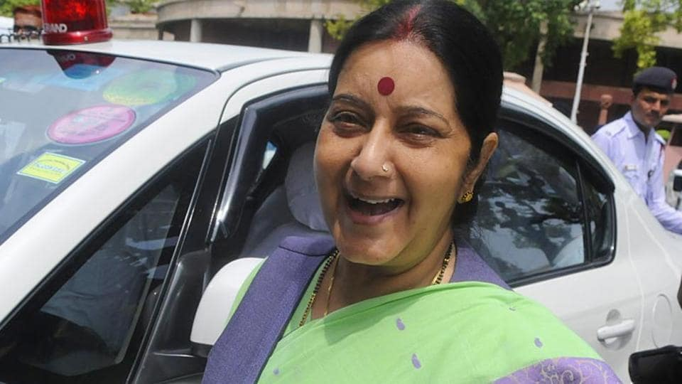 BJP leader Sushma Swaraj at the Parliament House in New Delhi.