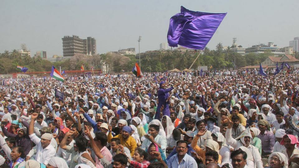 Protestors at the march organised by Bharipa Bahujan Mahasangh demanding the arrest of Shivraj Pratishthan chief Sambhaji Bhide, who they accuse of being behind the violence at Bhima-Koregaon early this year.