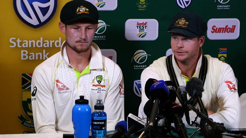 Australian cricket team captain Steve Smith (R) and Cameron Bancroft admitted to ball-tampering during the third Test against South Africa in Cape Town.