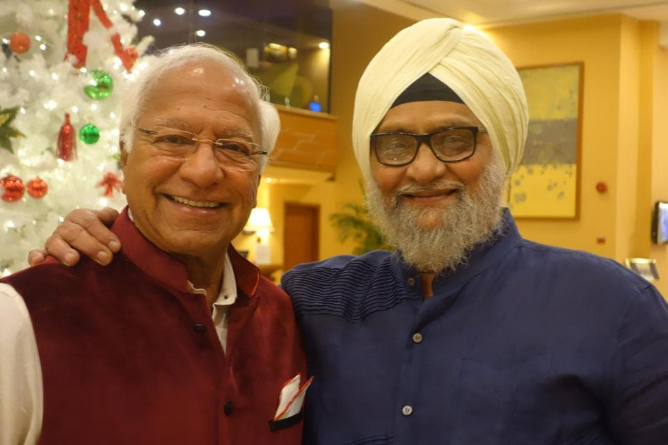Former India cricket captain Bishan Singh Bedi (right) with Khalid Ansari, veteran journalist and former publisher of Sportsweek magazine.