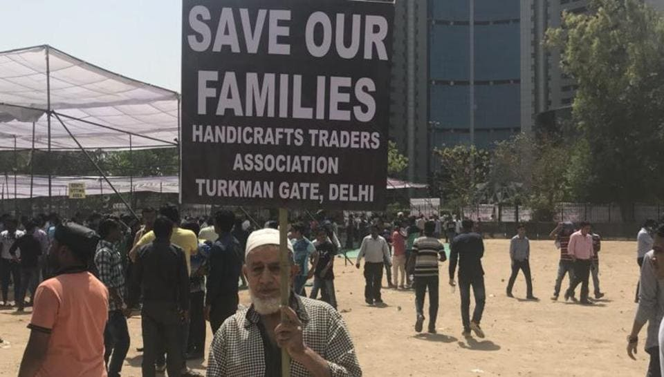 """M Rasik, a 71-year-old trader from Turkman Gate, says: """"I work in a small handicrafts shop. If it shuts down, what will I eat? No government cares about the poor."""""""