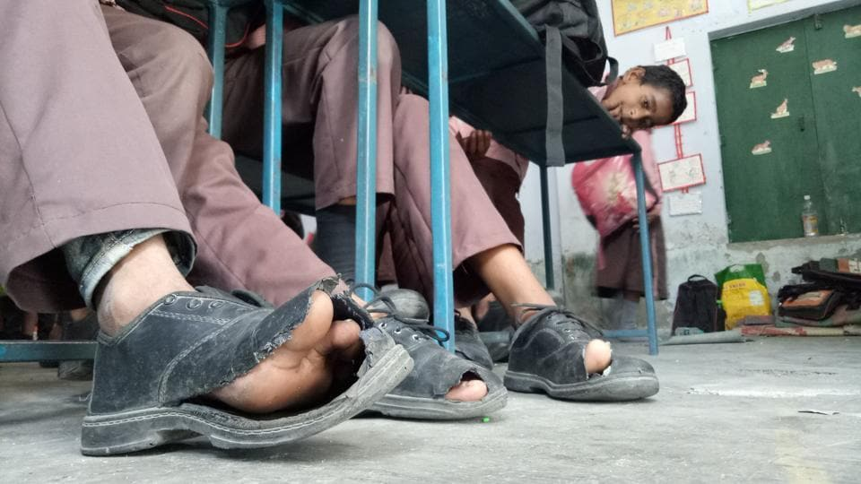 A reality check at a government-run primary school in Lucknow's Jiamau area.