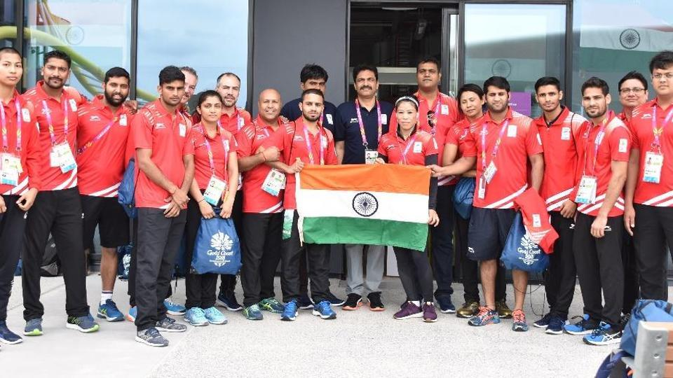 Members of the Indian contingent after reaching Gold Coast for the Commonwealth Games 2018.