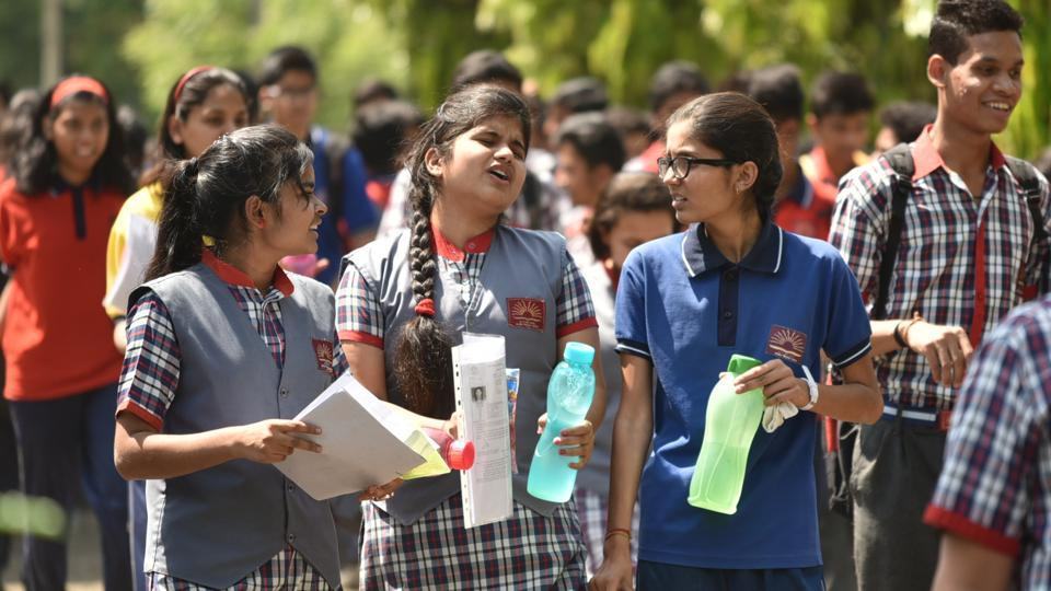 Students coming out of Jawaharlal Nehru school after appearing in Class 10 mathematics exam in Bhopal on Wednesday.