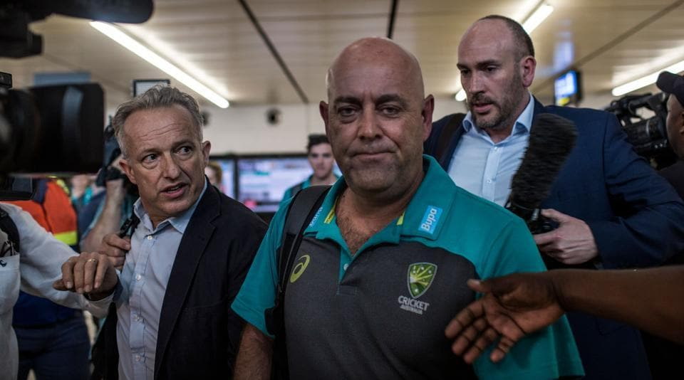 Australia coach Darren Lehmann arrives at in Johannesburg after the team was caught cheating in the third Test against South Africa.