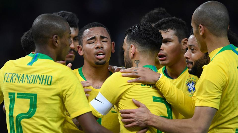 Gabriel Jesus (C) celebrates after scoring against Germany during their international friendly on Tuesday.