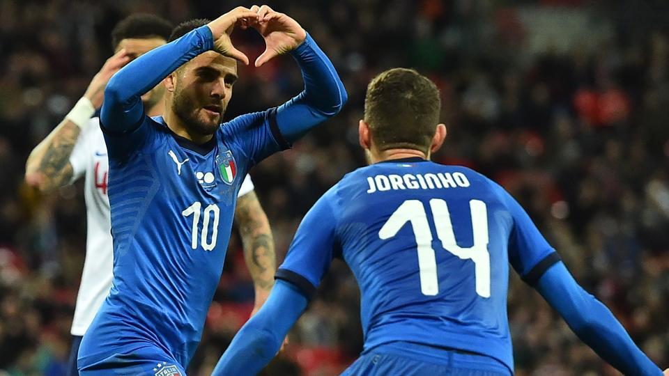 ILorenzo Insigne celebrates after scoring for Italy during their international friendly against England on Tuesday.