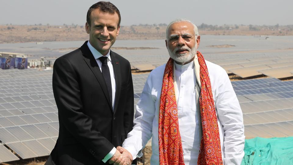 Prime Minister Narendra Modi  with Emmanuel Macron on March 12, 2018 during the French president's visit  to India.