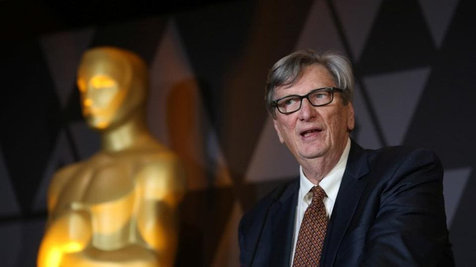 Motion Picture Academy President John Bailey speaks at the Foreign Language Film nominees cocktail reception in Beverly Hills.