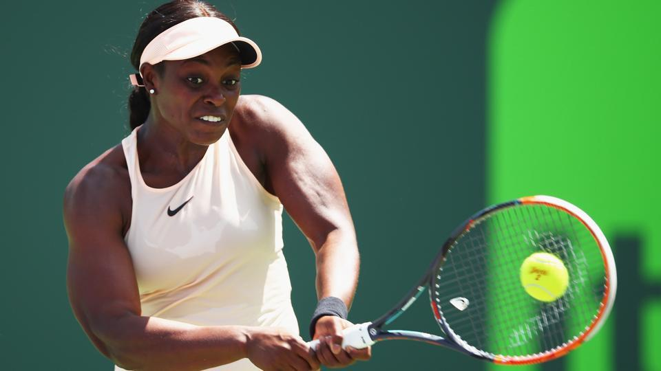 Sloane Stephens plays a backhand against Angelique Kerber during their Miami Open encounter on Tuesday.