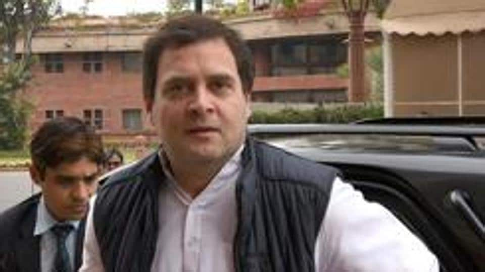 Congress leader and president Rahul Gandhi arrives for the 2018 Budget Session at Parliament House in New Delhi.