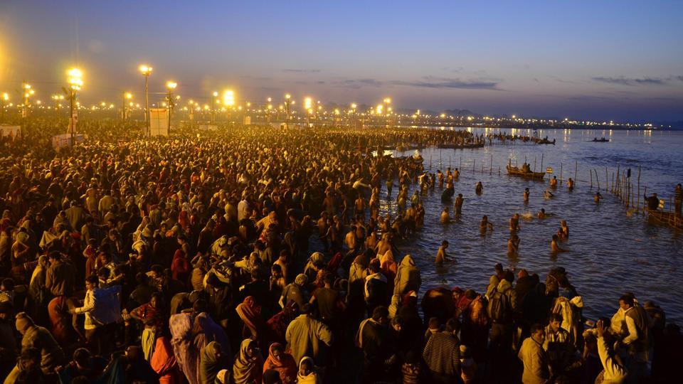 Millions take a dip in the waters of the holy confluence of Ganga, Yamuna and the mythical Saraswati at Sangam in Allahabad on Basant Panchami in Allahabad on February 04, 2014.