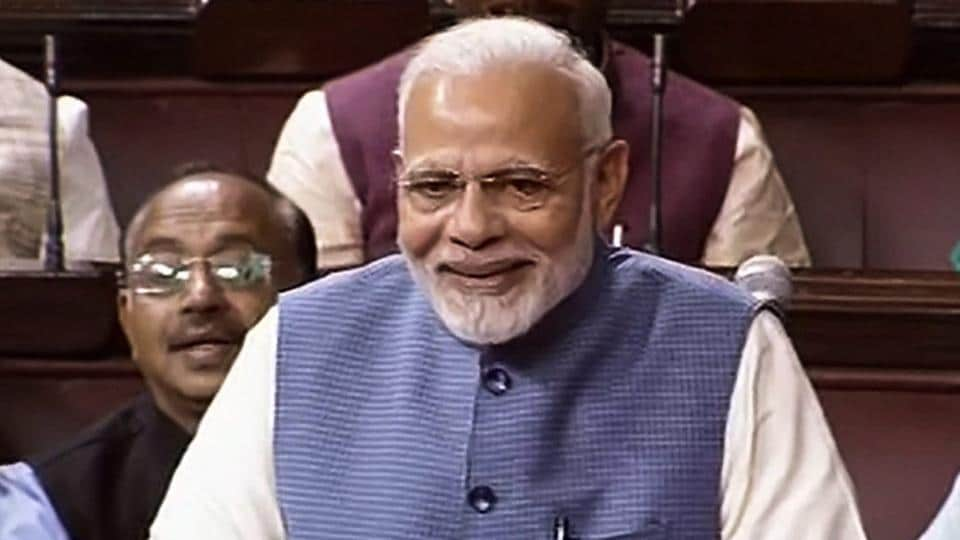 PM Narendra Modi bids farewell to outgoing Rajya Sabha members