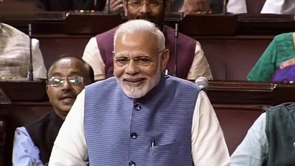 Prime Minister Narendra Modi speaks in the Rajya Sabha during the second phase of budget session, at Parliament House in New Delhi on Wednesday.