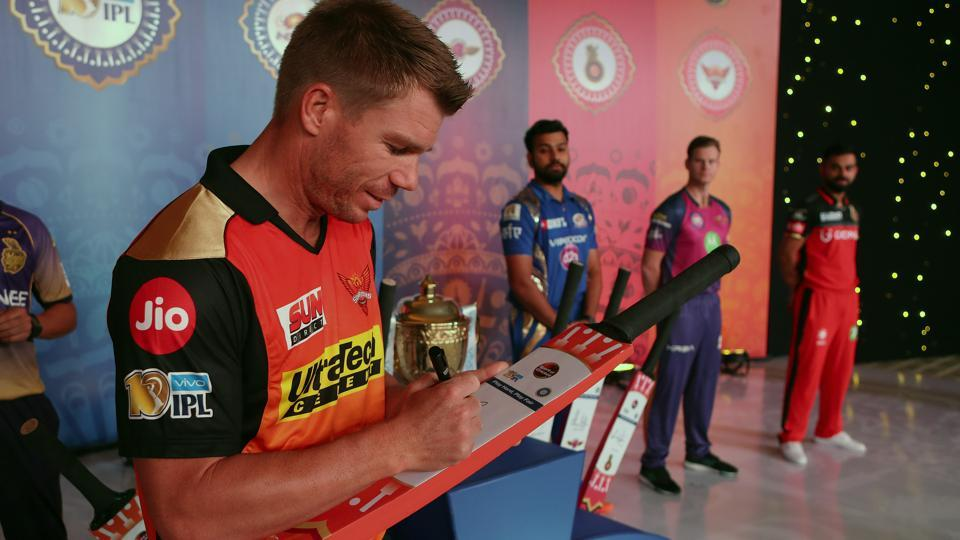 David Warner signs the Spirit of Cricket bat during the IPL 2017 Captain's Meeting in Hyderabad on April 4, 2017. David Warner was the highest scorer for Sunrisers Hyderabad in Indian Premier League 2017. The Australian opener has now stepped down as SRH skipper in the wake of the ball-tampering episode in South Africa.