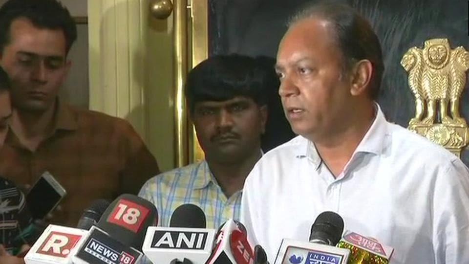 Delhi Police special commissioner RP Upadhyaya speaks to the media on Thursday.