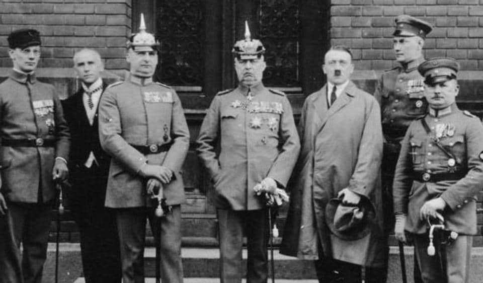 Defendants in the Beer Hall Putsch trial. Adolf Hitler is second from right.