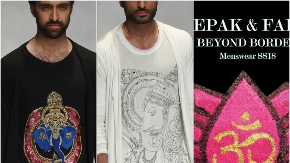 Models showcased T-shirts featuring hand-embroidered Ganesha motifs  at a  fashion week in  Karachi, Pakistan.