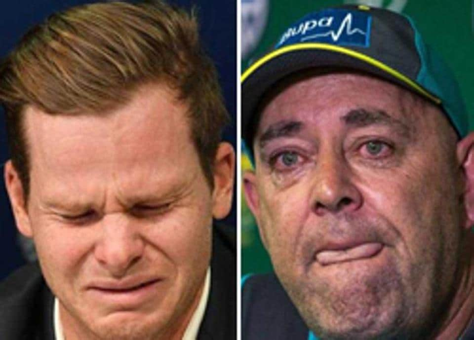 Steve Smith (L) and Darren Lehmann broke down while addressing their respective press conferences on Thursday.