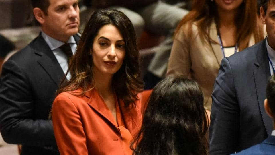 Amal Clooney attends a security council meeting at UN headquarters during the United Nations General Assembly in New York City, on September 21, 2017.