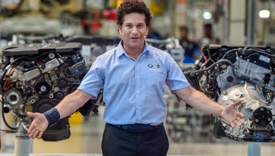 Former cricketer and BMW Group India's brand ambassador, Sachin Tendulkar, poses during the company's 11th anniversary celebration of a factory in Chennai on March 29.
