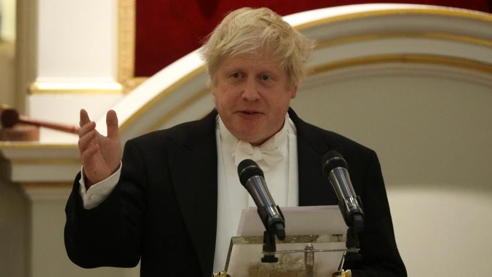 Britain's foreign secretary Boris Johnson speaks during a banquet with diplomats at Mansion House in London, Britain.