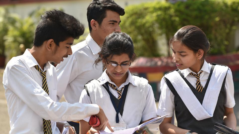 Students of class 12th coming after appearing for the CBSE Chemistry exam in Bhopal on March 13, 2018.