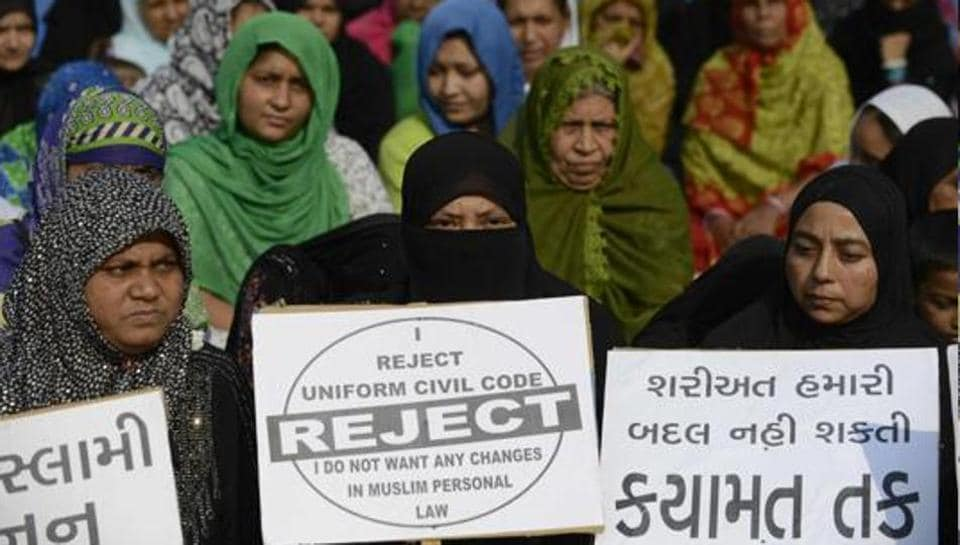 This file photo taken on November 4, 2016 shows Muslim women at a rally to oppose the Uniform Civil Code (UCC).