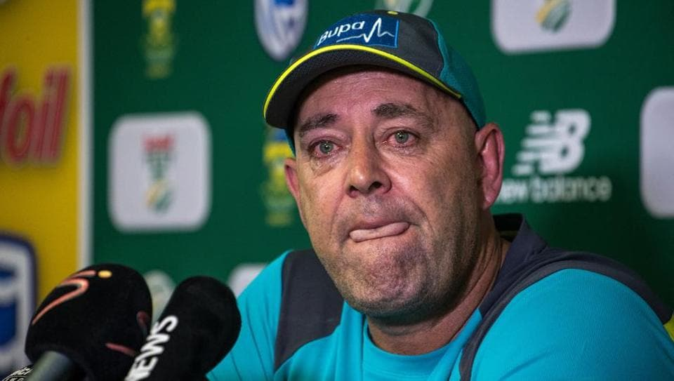 Darren Lehmann speaks to the press as he announces he will resign as Australian cricket team coach after the coming Test match on March 29, 2018 in Johannesburg.