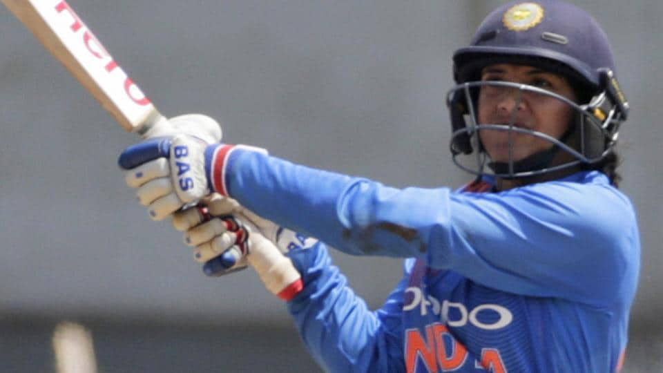 Smriti Mandhana in action during Indian women's team's T20 tri-series encounter against England in Mumbai on Thursday.