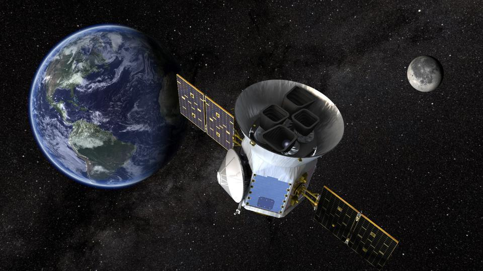 TESS, the Transiting Exoplanet Survey Satellite, is shown in this conceptual illustration obtained by Reuters on March 28, 2018. NASA plans to send TESS into orbit from the Kennedy Space Center in Florida aboard a SpaceX Falcon 9 rocket set for blastoff sometime between April 16 and June on a two-year mission.