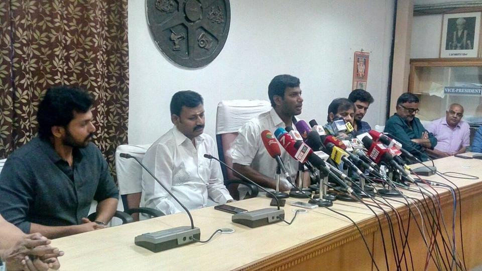 Vishal addressed the media on Friday about the shutdown of the Tamil film industry.