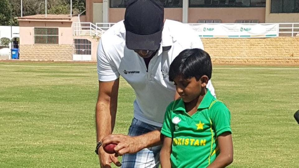 Wasim Akram posted this picture of him training six-year old aspiring pace bowler Hasan Akhtar, who had gone viral on social media for his clean bowling action.