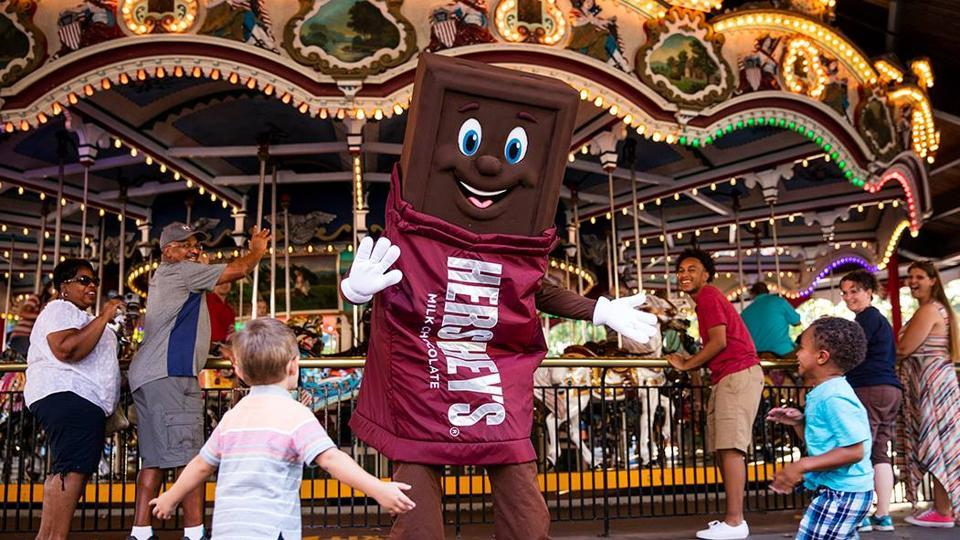 The 121-acre amusement park features chocolate-themed roller coasters as well as custom-made bars.