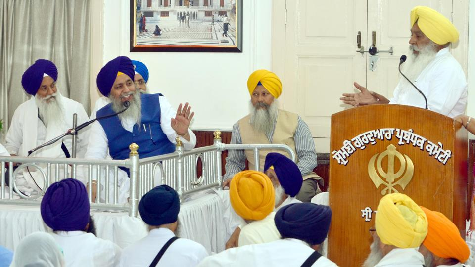 Former general secretary of the SGPC, SukhdevSingh Bhaur, in an argument with president Gobind Singh Longowal inAmritsar on Friday.