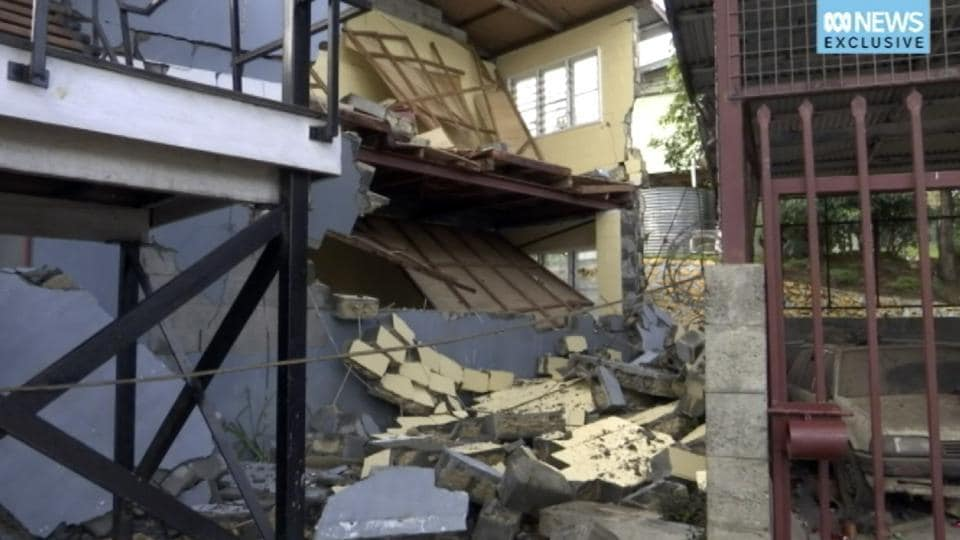 File image made from video provided Feb. 28, 2018, shows a damaged building following an earthquake in Mendi, Papua New Guinea.